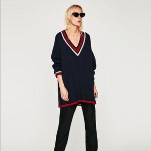 Oversized zara varsity sweater v neck